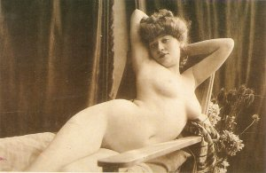 Risque. Nude lady Modern Spanish repro of old french PC. Continental size