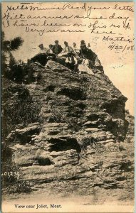 JOLIET, Montana Postcard Family Perched on High Rock Formation - 1908 Cancel