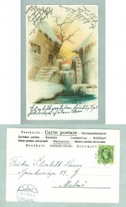 Sweden. Winter,Mill. Postal Used.1903. Writing On Front.