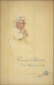 New Baby Boy Congratulations Birth GIBSON LINES c1915 Unused Postcard