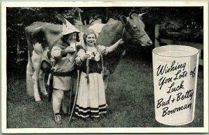 1930s Midget Circus Postcard MIDGET DAIRY FARM Lots of Luck Bud & Betty Bowman