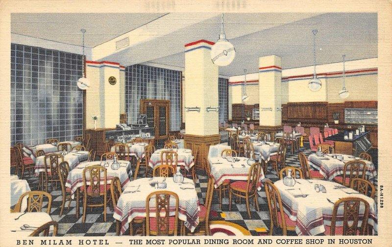 Ben Milam Hotel Dining Room Coffee Shop Houston Texas linen postcard