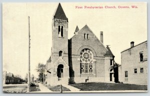 Oconto Wisconsin~First Presbyterian Church~Long View Down Sidewalk~c1910 Sepia