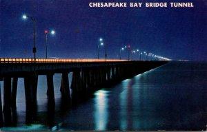 Virginia Chesapeake Bay Bridge Tunnel At Night 1967