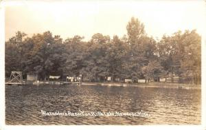 Newaygo Michigan~Laundry Clothes Out in Full Force~Alexander's Resort~RPPC 1940s