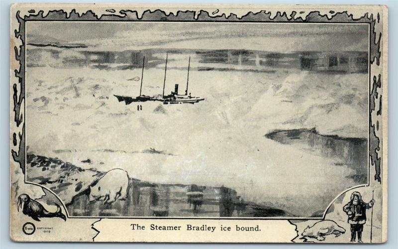 Postcard North Pole Explorer Frederick Cook Steamer Bradley Ice Bound 1909 M2