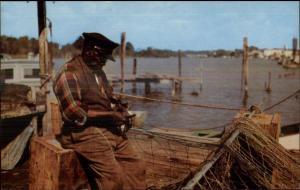 Coastal NC North Carolina Black Fisherman Mending Nets Aquaculture Postcard