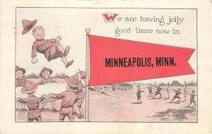 Jolly Good Times in Minneapolis Minnesota~Soldiers Bayonetting~Pennant Postcard