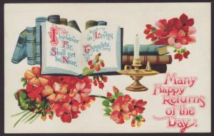 Many Happy Returns,Flowers,Books Postcard