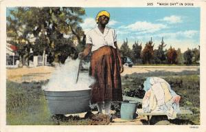 E23/ Black Americana Postcard c1940s Wash Day in Dixie Woman Tub Fire 7