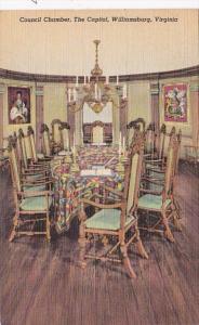 Virginia Williamsburg The Capitol Council CHamber Curteich