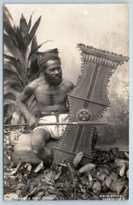 Postcard Philippines PI Native Mountain Moro Warrior RPPC c1930s Piang Photo L17