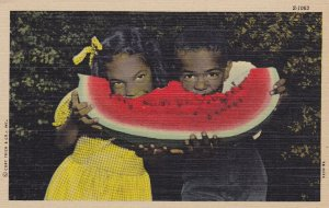 Black Americana , Black Kids eat watermelon , 1930-40s : #2