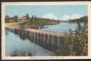Prince Edward Island MONTAGUE RIVER with Bridge and old cars pm1939 White Border