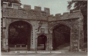 Dean's Gateway, Peterborough Cathedral, Early Real Photo Postcard, Used in 1925