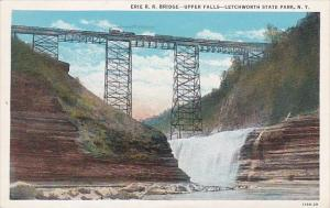 New York Letchworth State Park Erie R R Bridge Upper Falls