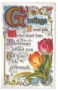 Greetings Friendship Motto Postcard Illuminated Letters