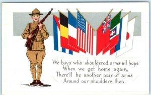 PATRIOTIC EMBOSSED WWI Era ~ Soldier ALLIES FLAGS  1910s Loyalty Series Postcard
