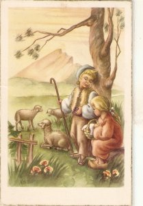 Children. Shepherds with their flock Nice Spanish PC 1950s