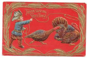 Thanksgiving Postcard Boy Cowboy Lasso Lariat Turkey Gold Embossed Vintage San