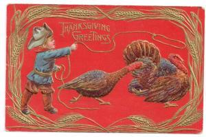 Thanksgiving Postcard Boy Cowboy Lasso Lariat Turkey Gold Embossed Vintage San
