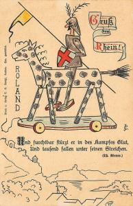 Germany Gruss vom Rhein Artist Signed CJ Wooden Horse Soldier Postcard