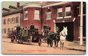 Postcard RI Providence Horse Drawn Fire Engine #3 Union Hook & Ladder A32