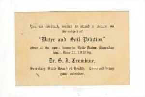 Water & Soil Pollution invitation,Belle Plaine,IKansas,1910