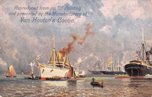 Weesp NL~Steamships (From Oil Painting) Van Houten Cocoa Ad c1905 Lancet Quoted