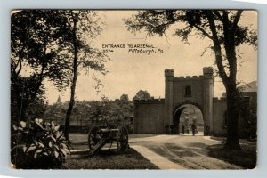 Pittsburgh PA-Pennsylvania Entrance To Arsenal Vintage Postcard