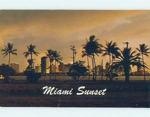 1960's SUNSET ON PALM TREES AND HOTELS Miami Florida FL F9301