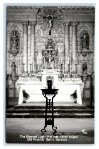 Postcard Eternal Light - Old Mission Santa Barbara, CA 1950+ RPPC I19