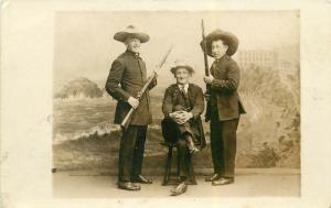 Real Photo Studio Real Photo Postcard Of 3 Men Holding Muskets