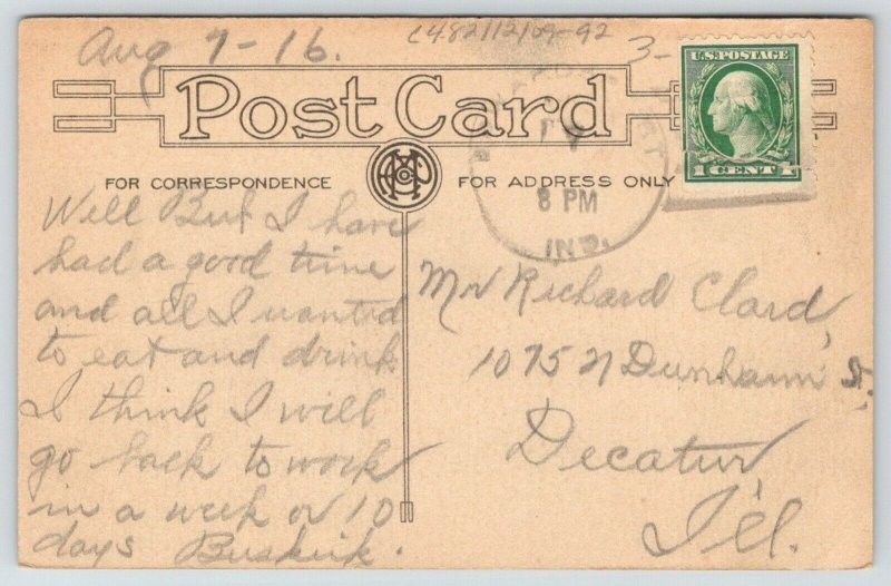 We Made Several Stops On Way to Edwardsport Indiana~Car Hits Pole~1916 Pennant