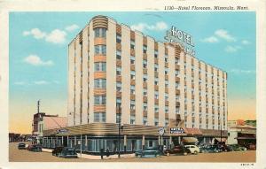 Missoula MT~Art Deco Hotel Florence & JC Penny's~~1940 Postcard