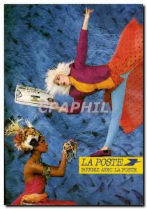 Postcard Modern Post In Holiday Checks travel Move the station with the post ...