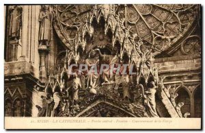 Reims Cathedral Postcard The Old Porch Central Pediment Coronation of the Virgin