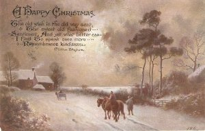 Snow scene with horsemen and horses Old vintage English Postcard