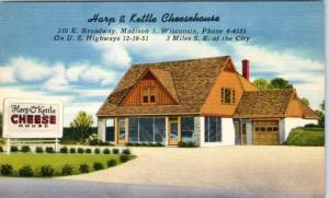 MADISON, Wisconsin  WI   Roadside  HARP & KETTLE CHEESEHOUSE  c1940s  Postcard