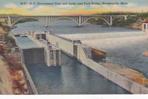 Minnesota Minneapolis-St Paul U S Government Dam & Locks & Ford Bridge Curteich