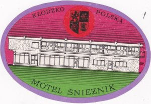 Poland Klodzka Motel Snieznik Vintage Luggage Label lbl1653