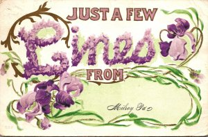 Pennsylvania Just A Few Lines From Milroy With Flowers 1914