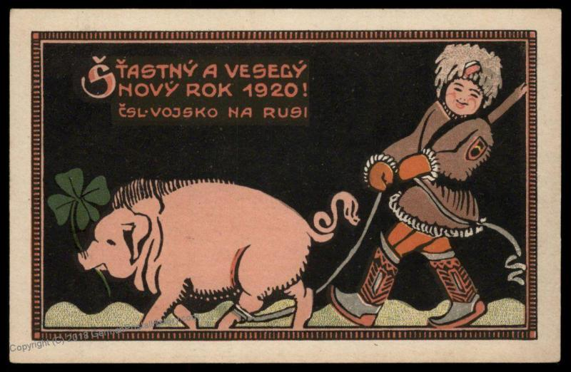 Czech Legion in Russia WWI Driving Communist Pig Patriotic Card 90333