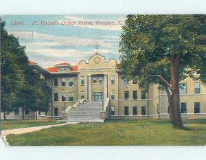 Chipped - Divided-Back ST. VINCENT'S ORPHAN ASYLUM Freeport Illinois IL p1648
