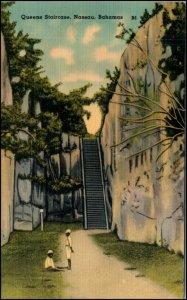 Queens Staircase Nassau Bahamas Linen Postcard