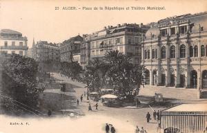Algeria Alger - Place de la Republique et Theatre Municipal, tram