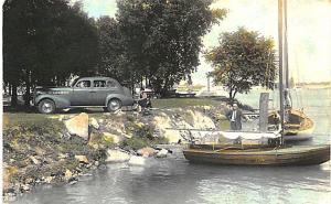 Detroit MI Yacht Club 1938 Dodge Hand Tinted RPPC Postcard