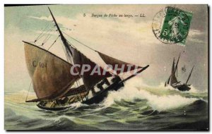 Old Postcard Fishing Boat Barque wide at fishing