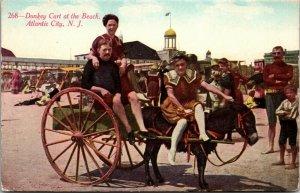 Atlantic City, NJ  Donkey Cart on the Beach  c-1907-1915 - POSTCARD