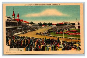 Vintage 1940's Postcard The First Quarter Churchill Downs Louisville Kentucky